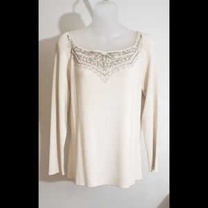 Dana Buchman Cream colored beaded top